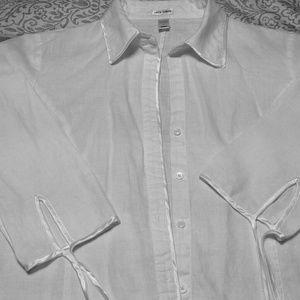 White Linen light weight jacket blouse.